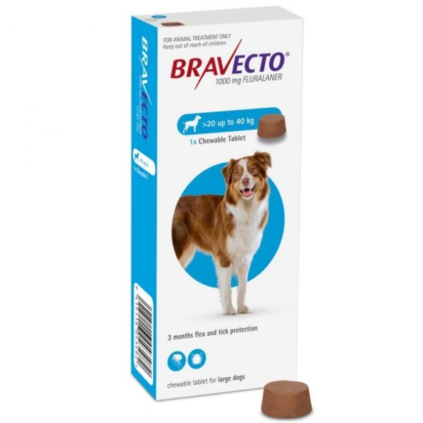 Bravecto 1000mg Chewable Tablet for Large Dogs  20-40kg