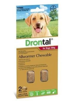 Drontal Chewable for large dogs 35kg 2 pack size