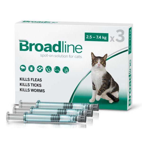 Broadline Flea & Worm for Cats 2.5-7.5kg 3-pack size