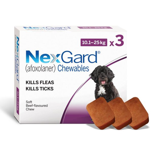 Nexgard for Medium Dogs 3 Pack 10-25kg  ( free singles no longer available-sold out )