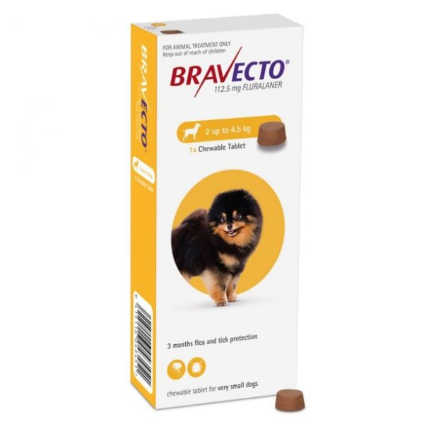 Bravecto 112.5mg Chewable Tablet for Toy Dogs 2-4.5kg