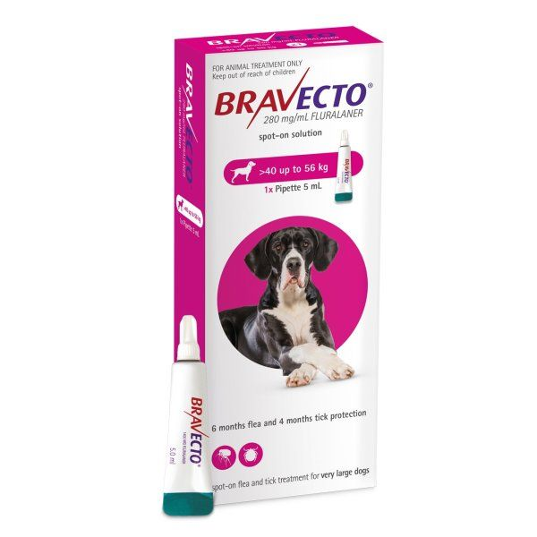 Bravecto  SPOT ON  solution for very large  dogs (40-56kg) Pink