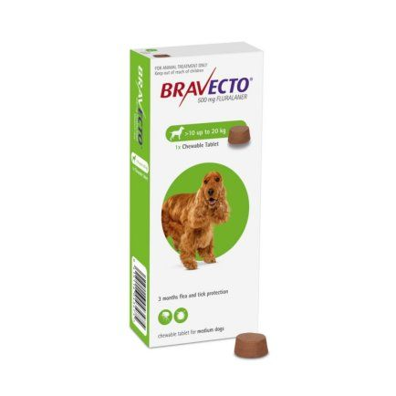 Bravecto 500mg Chewable Tablet for Medium Dogs  10-20kg