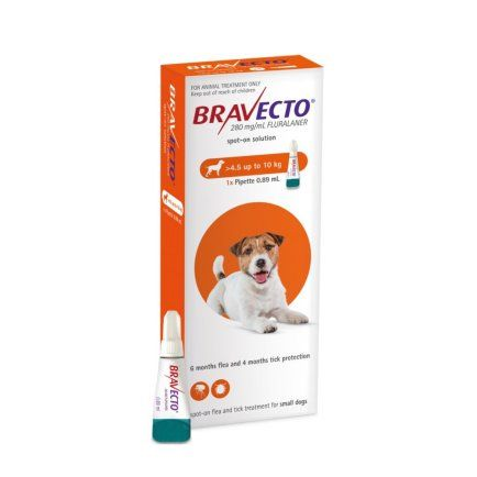 Bravecto  SPOT ON  solution for  small dogs (4.5-10 kg) orange