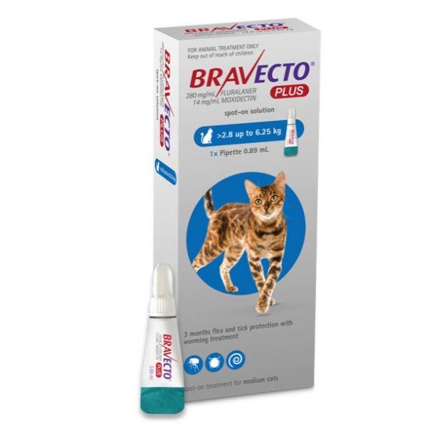 Bravecto PLUS Flea,Tick & Worm Spot-On for Cats Medium (2.8kg- 6.25kg)