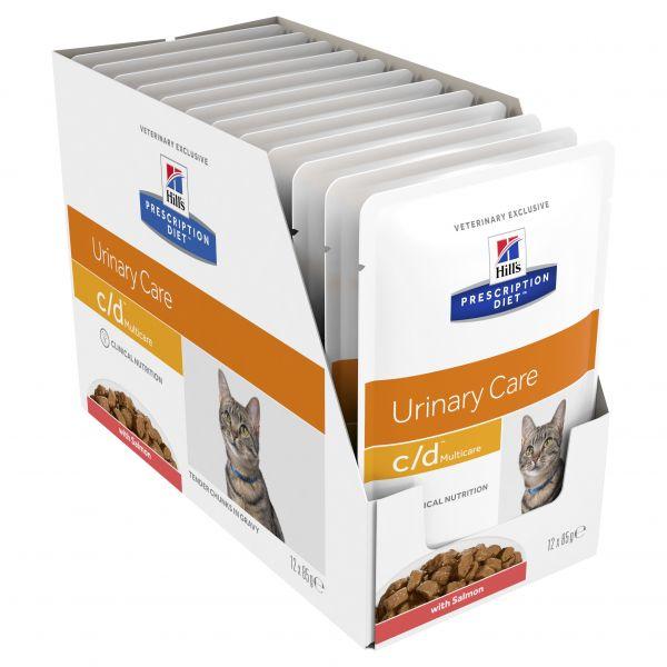Hills Prescription Diet Cat c/d Urinary Care Salmon Cat pouch 85g X 12  ( 1 box )