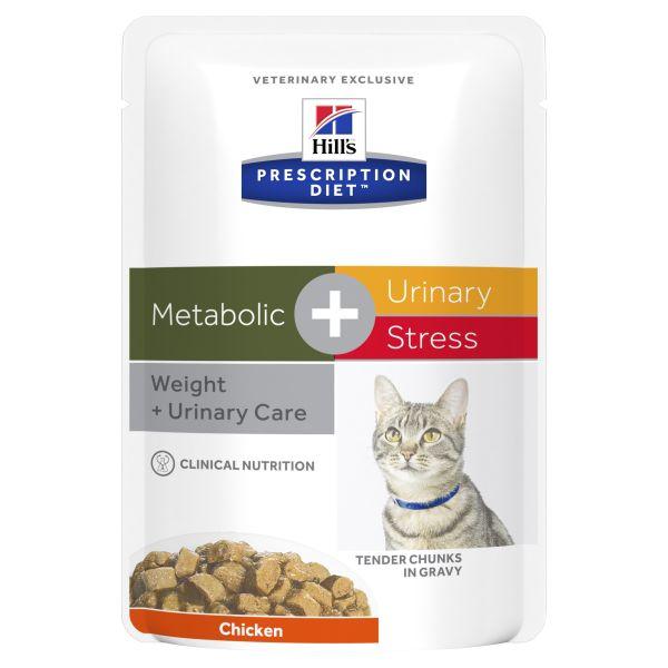 Hills Prescription Diet Cat Metabolic + Urinary Stress Chicken pouch 85g X 12