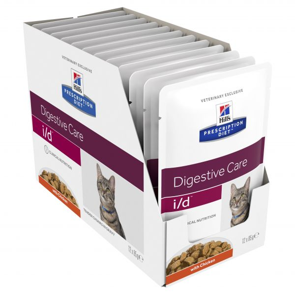 Hills Prescription Diet Cat i/d Digestive Care Chicken cat pouch 85g X 12 (1 Box)