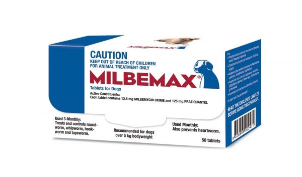 Milbemax wormer for Large Dogs BOX OF 50