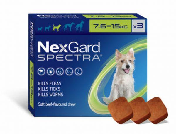 Nexgard Spectra Medium Dog 7.6-15kg Two 3 packs WITH FREE KONG TOY