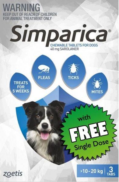 Simparica Flea Medium Dog 10-20 kg (Blue) 3-pack Plus FREE SINGLE