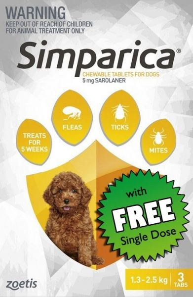 Simparica Flea Puppies 1.3-2.5kg (Yellow) 3-pack Plus FREE SINGLE