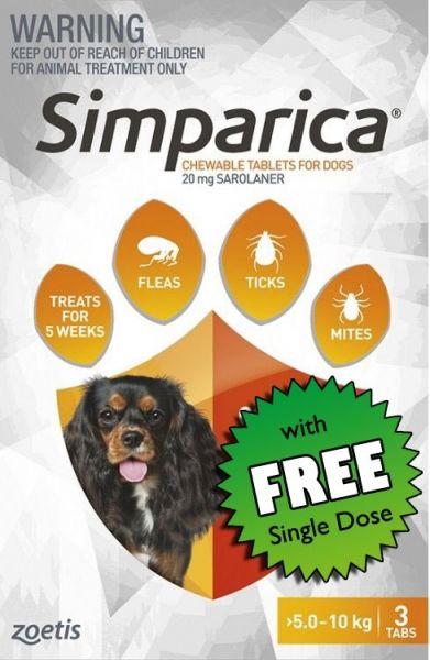 Simparica Flea Small Dog 5.1-10 kg (orange) 3-pack Plus FREE SINGLE