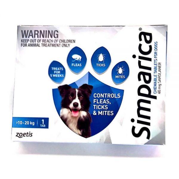 Simparica Flea Medium Dog 10-20 kg (Blue) SINGLE