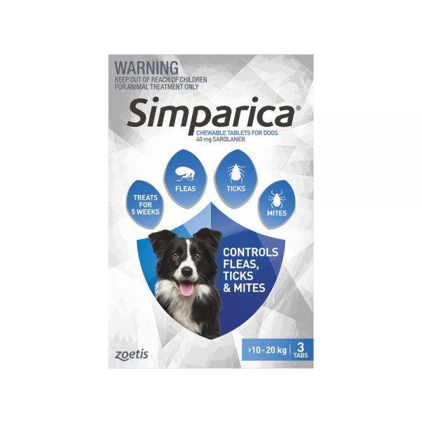 Simparica Flea Medium Dog 10-20 kg (Blue) 3-pack