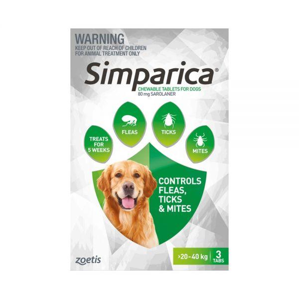 Simparica Flea Large Dog 20-40 kg (Green) 3-pack   (NO FREE SINGLES LEFT)