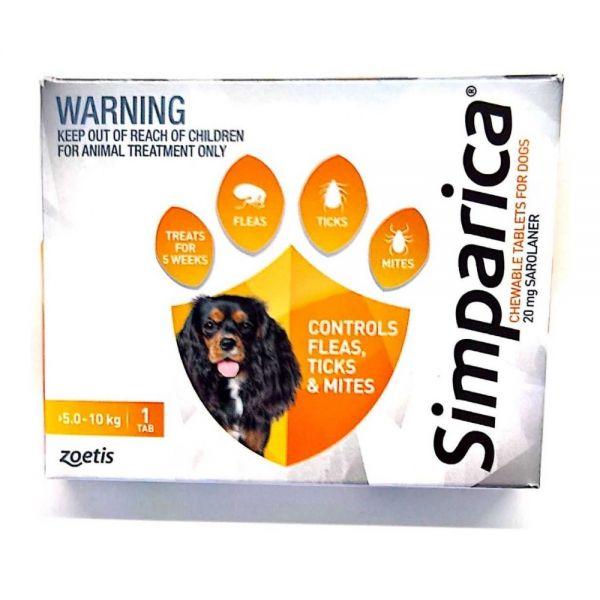 Simparica Flea Small Dog 5.1-10 kg (orange) SINGLE