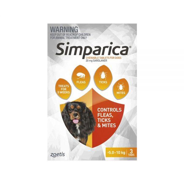 Simparica Flea Small Dog 5.1-10 kg (Orange) 3-pack