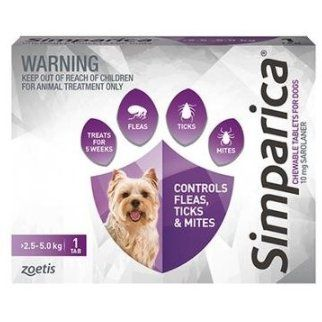 Simparica Flea Toy Dog 2.5-5 kg (Purple) SINGLE