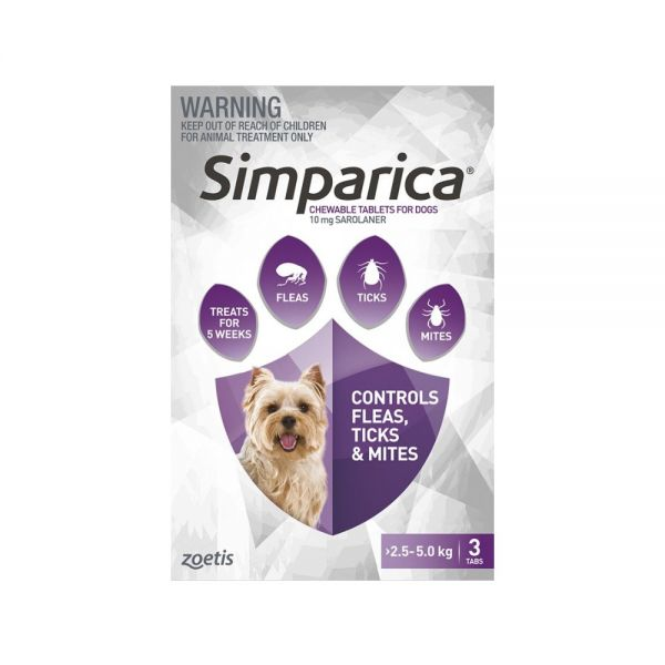 Simparica Flea Toy Dog 2.5-5 kg (Purple) 3-pack  exp end 011/21