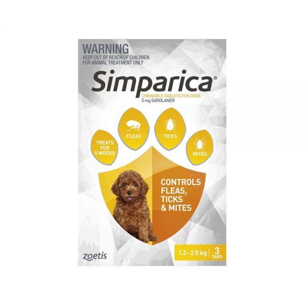 Simparica Flea Puppies 1.3-2.5kg (Yellow) 3-pack