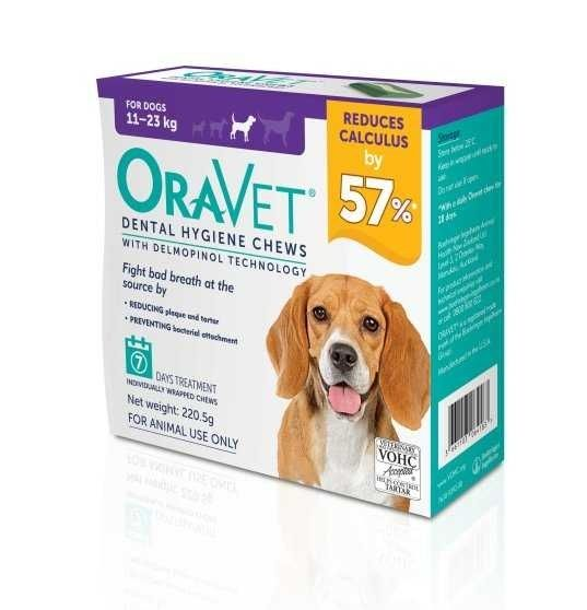 Oravet Dental Hygiene chews for M dogs  11-23kg ( pack of 7 )   BUY ONE BOX GET ONE BOX FREE  exp 11/2021