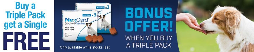 Buy a triple pack and get a single FREE with Nexgard Chewables